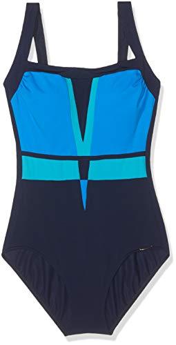 Sunflair Damen Color Composition Badeanzug, Schwarz (Blau 26), 46 (Herstellergröße: 46C)