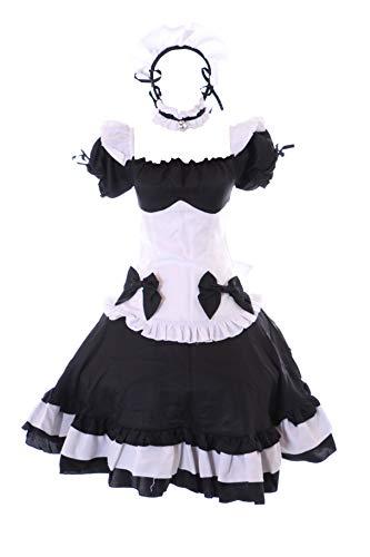 Kawaii-Story MN-183 Love Nikki Maid Gothic sukienka biały czarny kostium 6-częściowy zestaw damski kostium Cosplay (S)
