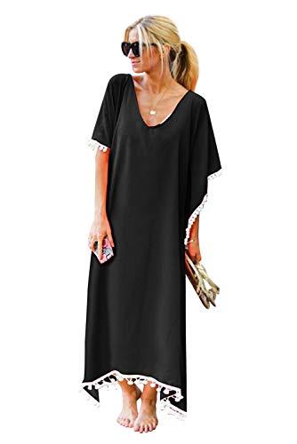 Vestiti Lungo Donna Estate Manica Corta Copricostume Mare Vestito Chiffon con Frange Boho Eleganti Abito Taglie Forti Tunica Kaftan Pareo Vestitini da Spiaggia Maxi Dress