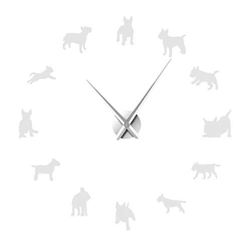 Dekorative Wanduhr,Evansamp Diy Dackel Wandkunst Wiener Hund Welpe Rahmenlose Riesenuhr Mit Spiegeleffekt(Silver)