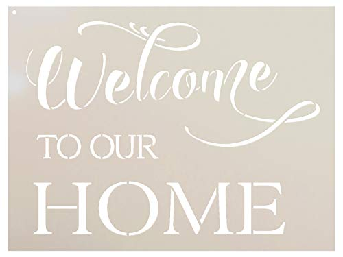 "Welcome to Our Home Stencil - by StudioR12 - Fancy Script & Serif - Word Stencil - STCL2087 (24"" x 18"")"