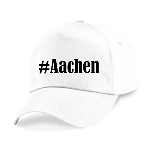 Reifen-Markt Base Cap Hashtag #Aachen Größe Uni Farbe Weiss Druck Schwarz