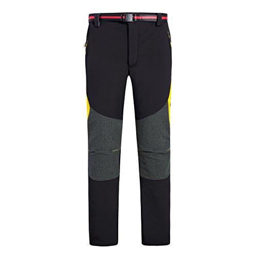 emansmoer Homme Imperméable Coupe-Vent Softshell Doublé Polaire Pantalon Outdoor Sport Camping Randonnée Trekking Pants (Medium, Noir)