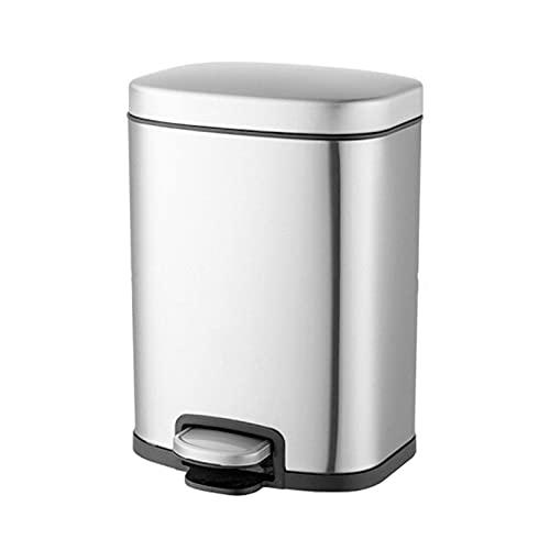 Acero Inoxidable Espesar,Con Cubierta Pedal Baño Cocina Oficina Control De Olores Cubo De Basura-40L-Colores primarios de acero inoxidable