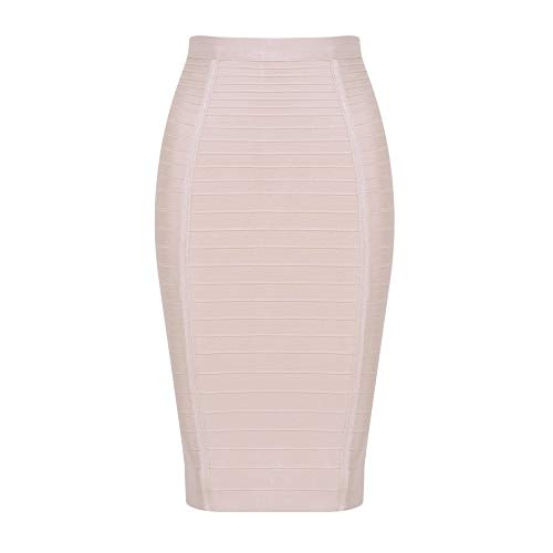 HLBandage Women's High Waist Elastic Rayon Bandage Pencil Skirt (XL, Nude)