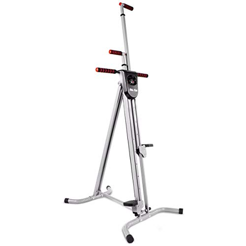 XtremepowerUS 2-in-1 Folding Vertical Climber Fitness Cardio Exercise Machine Folded Full Body Workout Macine Stair Climber with Digital Monitor