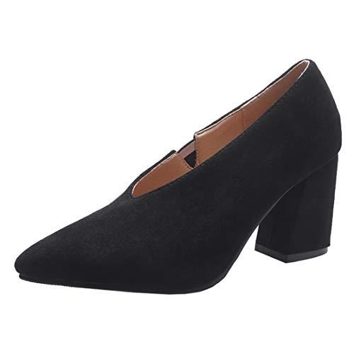 AIYOUMEI V Neck Pumps Spitz Blockabsatz High Heels Schuhe Damen Absatzschuhe Bequem Schwarz 38.5 EU