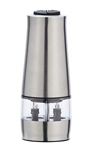 Wenko Elektrische Mühle mit LED-Licht 2-in-1 Edelstahl - Salz- und Pfeffermühle mit Licht, Edelstahl rostfrei, 7 x 17,5 x 6 cm, silber matt