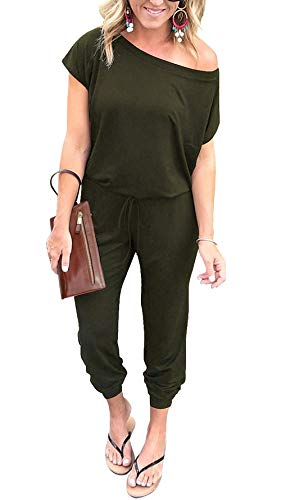 PRETTYGARDEN Women's Loose Solid Off Shoulder Elastic Waist Stretchy Long Romper Jumpsuit with Pockets Green