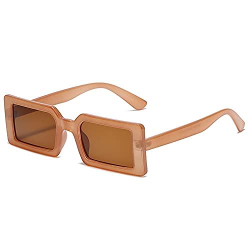PPLAA Gafas de Sol de Mujeres cuadradas Vintage Pequeño rectángulo de Lentes marrón Gafas Femeninas para Hombres Retro Gafas (Lenses Color : Brown)