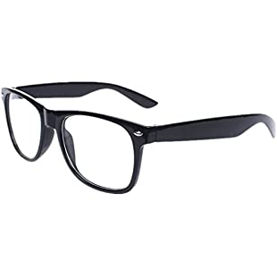 Black Frame Nerd Glasses, Clear Lens, Fancy Dress Party