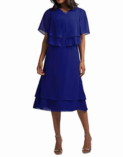 Abito corto da festa per la madre della sposa, in chiffon, lunghezza al ginocchio, linea A, abito per festa della mamma, a maniche corte, con bolero blu royal 52