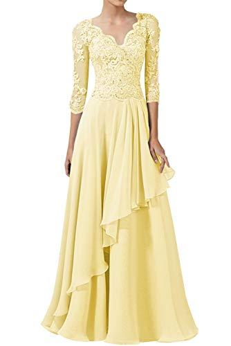 Abendkleider Spitzen Lang Ballkleider Hochzeitskleid A-Linie Brautjungfernkleider 3/4Ärmel Elegant Brautmutterkleider Festkleider Gelb 44