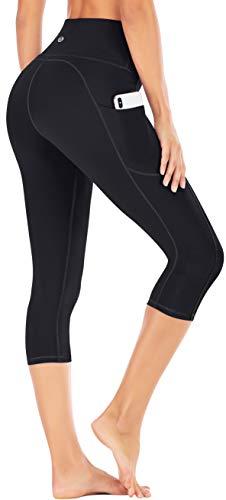 IUGA High Waisted Yoga Pants for Women with Pockets Capri Leggings for Women Workout Leggings for Women Yoga Capris (Black, L)