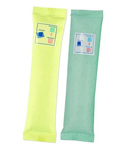 FHUILI 70 g*10 Confezioni (5 Gruppi in Totale,1 Gruppo 2 Confezioni),silice Gel bustine Desiccant,di Gel di Silice Essiccante umidità Assorbitore(I Colori Giallo e Verde verranno inviati a Caso)