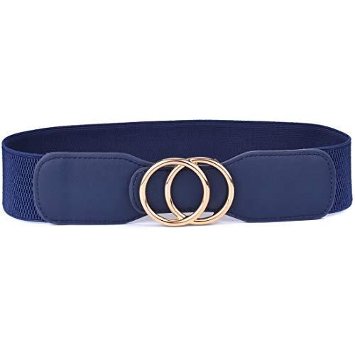 Beltox Women's Elastic Stretch Wide Waist Belts w Double Rings Gold/Silver Buckle (Blue w Gold Buckle, XS-L(27-35 inch stretch range))