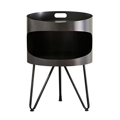 Small Round Coffee Table Metal Bedside Cabinet Double Layers Living Room Bedroom Storage Display Rack Home Fashion Simple Furniture, 40X58CM(Color:dark gray)