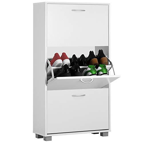 Deuba Zapatero Blanco con 3 estantes Ajustables 115x60x24 cm con manijas Mueble para Zapatos hasta Talla 45 Interior