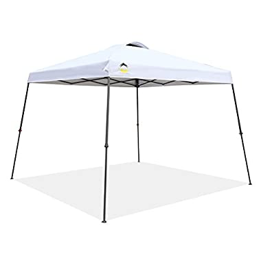 CROWN SHADES Patented 11ft. x 11ft. Slant Leg One Push Up Clia Instant Folding Canopy With Wheeled Bag, White