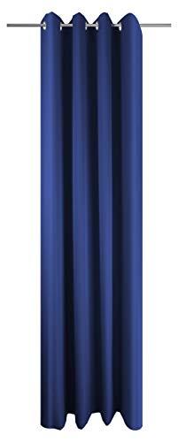 Ösenschal Vorhang Blau Uni Blickdicht Lichtdurchlässig HxB 245x145 cm - Dekoschal Gardine Dunkelblau