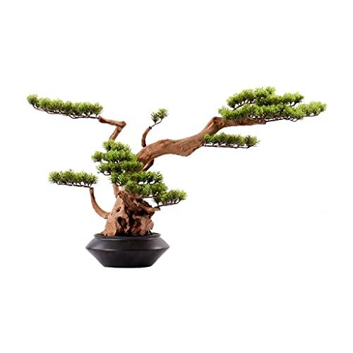 Xu Yuan Jia-Shop Bonsai Decorative Bonsáis Artificial Blonsai Belleza Pine Tree Black Ceramic Flowerpot Fake Tree Silicone Aguja Hojas Oficina Sala de Estar Decoración Bonsai Tree