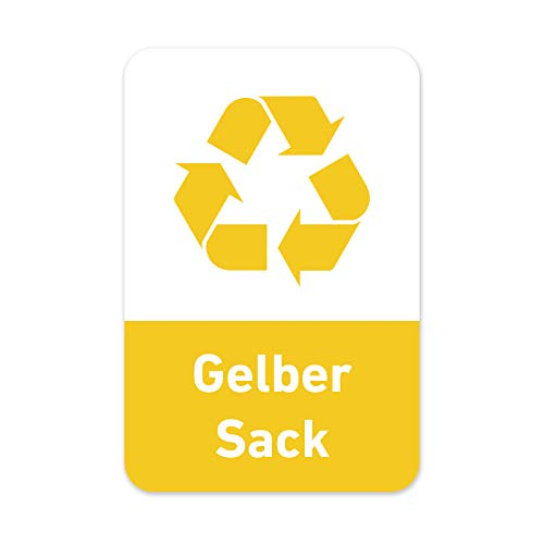 Recycling Aufkleber 8er Set Gelber Sack Mülltonnen Mülleimer (5 x 7,5 cm)