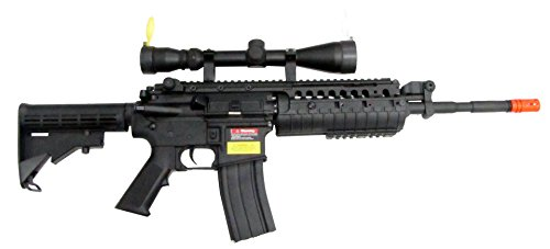 JG M4 RIS System with Rifle Scope Sniper Airsoft Gun 500 FPS