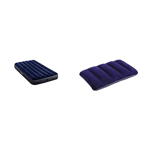 Intex 64757 - Colchón Hinchable Dura-Beam Classic Downy + 68672 - Almohada Hinchable flocada, 43 x 28 x 9 cm, Color Azul