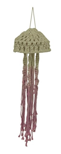 Zeckos Pink and Natural Cotton Macrame Hanging Jellyfish
