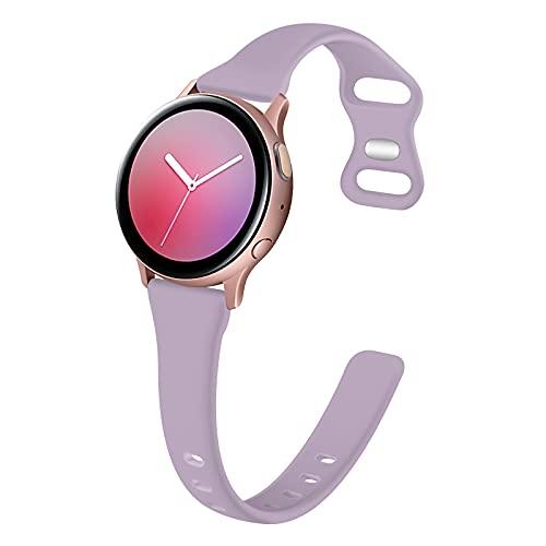 TopPerfekt Correa Compatible con Samsung Galaxy Active 2 (40 mm / 44 mm) / Galaxy Watch 3 41 mm/Galaxy Watch 42 mm/Galaxy Watch Active, Pulsera de Silicona Suave y Delgada de 20 mm para Mujer