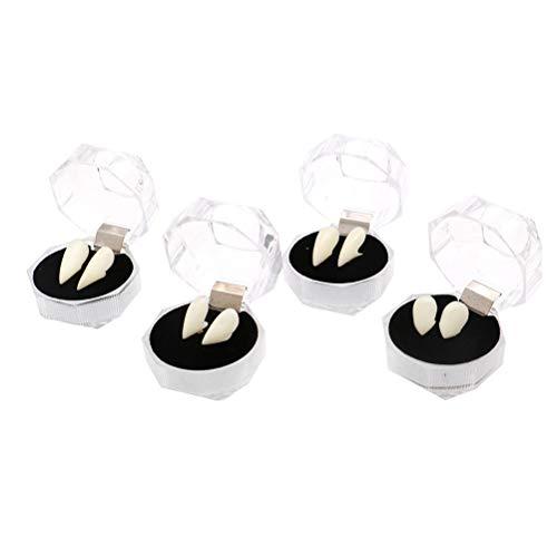 Toyvian 4 Cajas de Dientes de Vampiro Colmillos dentaduras postizas Dientes Falsos Accesorios de Disfraces de Disfraces de Halloween favores del Partido 13 15 17 19 mm