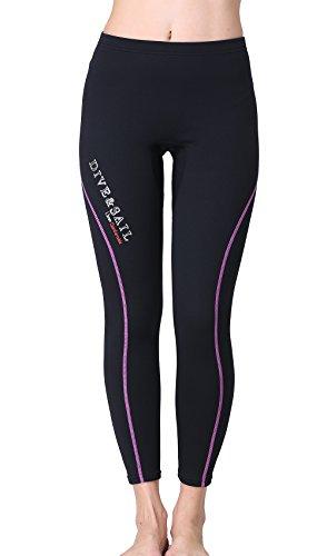Dive & Sail Wetsuit Pants 1.5mm Women Neoprene Pants For Kayaking Surfing Snorkeling Padding (Purple & Black, 10)