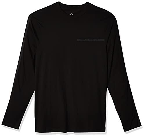 Armani Exchange All Over Logo Print Long Sleeve t-Shirt Camiseta, Black, XXL para Hombre