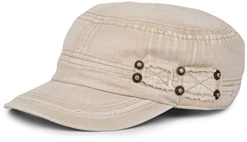 styleBREAKER Military Cap im Washed, Used Look, Vintage, verstellbar, Unisex 04023011, Farbe:Beige
