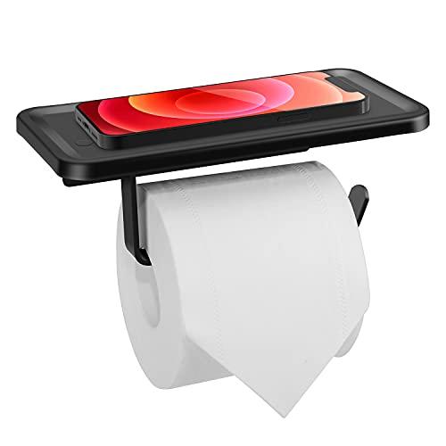 Porta Carta Igienica, Portarotolo Carta Igienica con Porta Cellulare in Acciaio Inox per Bagno WC Cucina, Antiruggine (Nero Opaco)