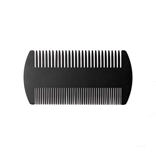 Beard Comb,Dual Action Stainless Steel Mustache Comb for Men by TTKLYN-Black