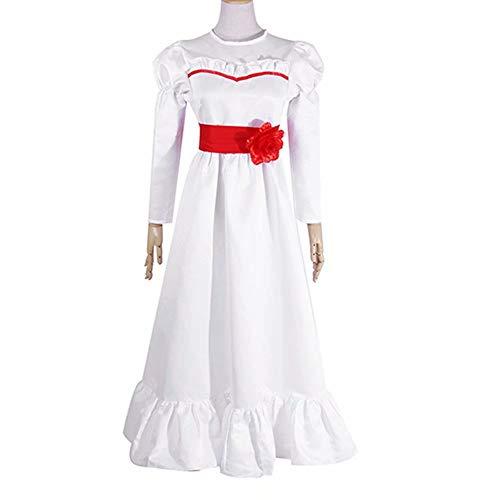 Annabelle Role Play Disfraz de Halloween Horror Scary Vestido Blanco para niños Adultos Mujeres Niñas Manga Larga Rosa roja Pajarita Vestido Largo Largo