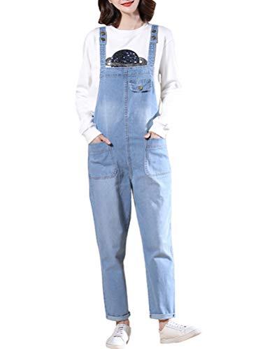 MatchLife Damen Breite Beine Hosen Loose Denim Jeans Jumpsuit Latzhose allgemeins (Fits Größe 40-46, Style19-Hellblau)