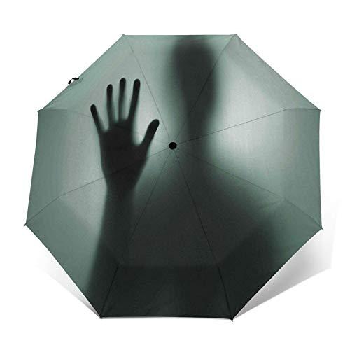 TISAGUER Regenschirm Taschenschirm,Die Rückseite des einsam depressiven Mannes hinter dem Vorhang,Auf Zu Automatik,windsicher,stabil