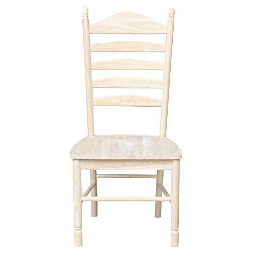 SuccessfulHome Unfinished Ladder Back Dining Chairs with Contoured Seats - Set of 2