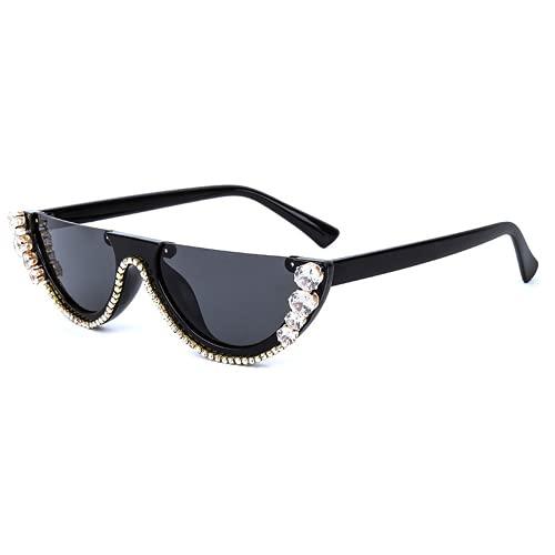 Qtlsgh Gafas de Sol de Gafas de Gato de la Mitad de la Caja
