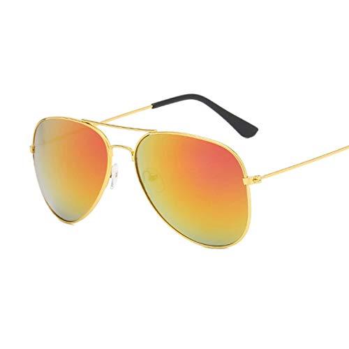 NJJX Gafas De Sol Negras Vintage Para Mujer, Hombre, Gafas De Sol Clásicas De Aviación, Moda Femenina, Espejo Colorido, Conducción Al Aire Libre, Rojo Dorado