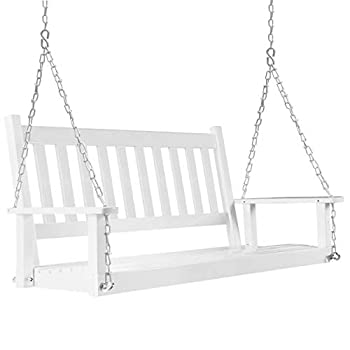 MUPATER Outdoor Patio Hanging Wooden Porch Swing with Chains 2-Person Heavy Duty Swing Bench for Garden and Backyard White 52  W x 23.6  D