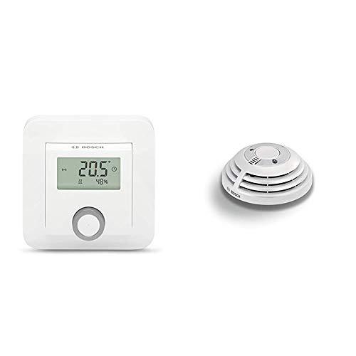 Bosch Smart Home Raumthermostat (für Fußbodenheizungen mit kabelgebundener Steuerung, 230 V, im Karton) & Rauchmelder mit App-Funktion (Variante für Deutschland und Österreich)
