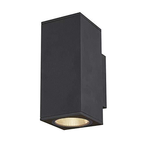 SLV LED Wandlampe ENOLA UP/DOWN M für die Außenbeleuchtung von Wänden, Wegen, Eingängen, LED Strahler, dimmbare Wandleuchte, Gartenlampe, Wegeleuchte / CCT-Switch (3000/4000 Kelvin), 740/840 lm, 19W