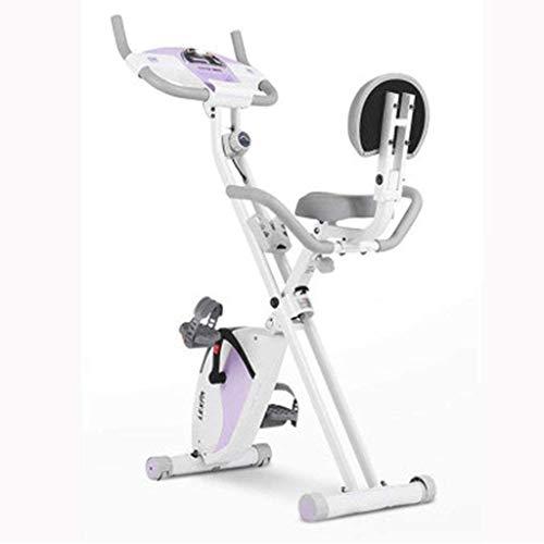 Lloow Ejercicio Bicicleta Electromagnético Pedal Deportes Spinning Bike Doblado Fijado Vertical Gimnasio Gimnasio, Mute Blanco, Pantalla LCD Púrpura