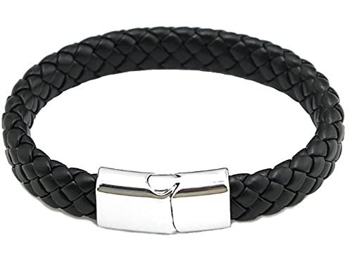 CHXISHOP Pulsera de cierre magnético, pulsera de cuero trenzado, pulsera de cuero, para hermana niña mujer negro - 22cm