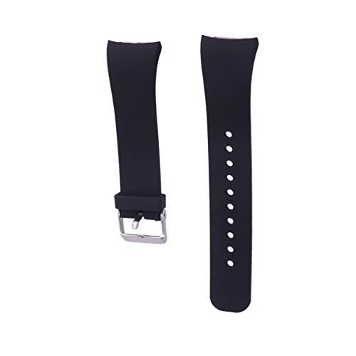 NICERIO Pulseira de silicone flexível compatível com Samsung Gear Fit 2 R360 Fit 2 Pro R365, branca, Preto, 20.8*2cm,