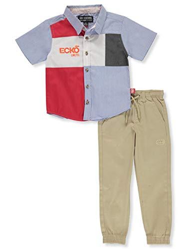 Ecko Unltd. Little Boys' Pieced 2-Piece Joggers Set Outfit - Blue/Khaki, 7