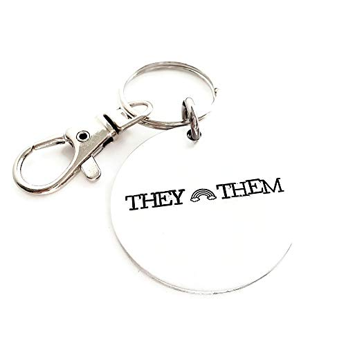 They Them Pronoun Keychain for LGBTQ, Non-Binary, Agender, Non-Gender, Queer